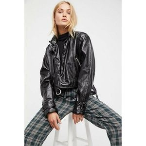Free People Brooklyn Cropped Faux Leather Jacket